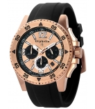 Heren horloge silicone band RVS rose verguld Chronograph datum 100M
