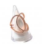 Ring in zilver rose verguld met zirconia gezet groot geweven - Maat: 55