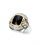 Ring - 925 Zilver WH. RHODIUM / 14K Yellow Gold + White Sapphire SZ 55