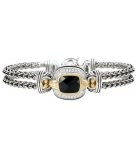 Armband - 925 Zilver WH. RHODIUM / 14K Yellow Gold + White Sapphire