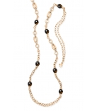 Collier - 925 Zilver Rose Gold Plated - Witte saffier + Smokey Quartz