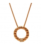 Collier - 925 Zilver Rose Gold Plated W/WH. Rhodium 45CM - Witte Saffier