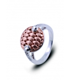 Ring - 925 Zilver W/Rose Gold Plating + WH. Rhodium - Witte saffier maat 54