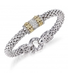 Armband - 925 Zilver WH. RHODIUM / 14K Yellow Gold + Witte saffier