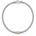 Collier - 925 Zilver W/Rhodium Plated + 14K Yellow Gold - White Sapphire