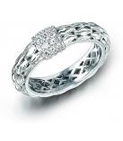 Ring - 925 Zilver White Rhodium - Witte saffier maat 50