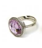 Ring in zilver rond model gezet - kleur: roos - Maat: Verstelbaar