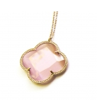 FIORI ketting zilver rose verguld 1 klaver groot - Kleur: Deep Pink