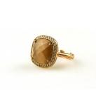 Ring in zilver rose verguld vierkant gezet - Kleur: bruin - Maat: Verstelbaar