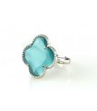 FIORI Ring zilver - Kleur: Turquoise -  Maat: Verstelbaar