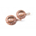 CABOCHON VINTAGE oorringen zilver rose verguld - Kleur : Brown