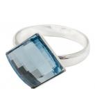 Ring zilver met vierkant aquamarijn