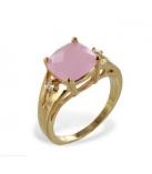 Ring in geel goud verguld met witte zirconia en milky pink zirconia
