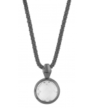 "Ketting - 925 Zilver W/CHN 18"" BLK. RHO + WH. RHO PLATE ON CHAIN - Stone: CRYSTAL"