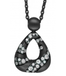"Ketting - 925 Zilver W/CHN 18""BLK. + WH. RHODIUM PLATE ON CHAIN - Stone: WH. CZ."