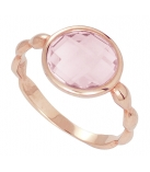 Ring - 925 Zilver W/ROSE GOLD PLATE - STONE: ROSE QUARTZ