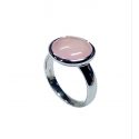 Ring - 925 Zilver W/WH. RHODIUM PLATE - STONE: PINK AGATE ZIRCONIA