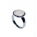 Ring - 925 Zilver W/WH. RHODIUM PLATE - STONE: WHITE AGATE ZIRCONIA