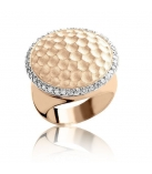RING ROUND HAMMERED SATIN ZIRC - ROSE
