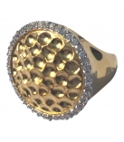RING ROUND HAMMERED SATIN ZIRC - GOLD