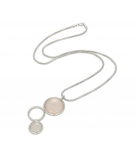 "Ketting - SILVER PENDANT W/CHN 18"" + WH. RHODIUM PLATE ON CHAIN - Stone: Synthetic Pink Agate"