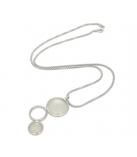 "Ketting - 925 Zilver W/CHN 18"" + WH. RHODIUM PLATE ON CHAIN - Stone: Synthetic White Agate"