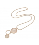 "Ketting - 925 Zilver W/CHN 18"" Rose Gold Plating + Wh.Rhodium - Stone : Synthetic Pink Agate"
