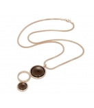 "Ketting - 925 Zilver W/CHN 18"" W/Rose Gold Plated - Stones: Smokey Quartz Zirconia"