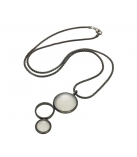 "Ketting - 925 Zilver W/CHN 18"" W/Super Blk Ruthenium Plated - Stones: White Agate Zirconia"