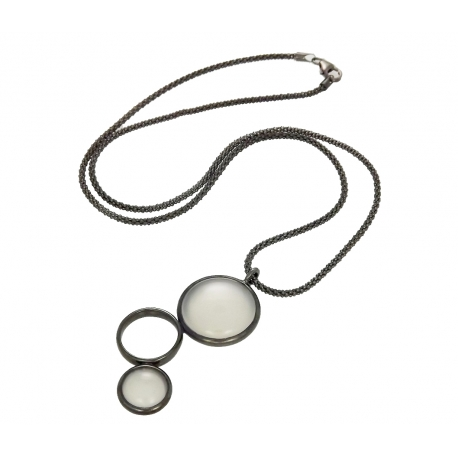 "Ketting - 925 Zilver W/CHN 18"" W/Super Blk Ruthenium Plated - Stones: White Agate Zirconia"