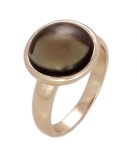 Silver Ring W/Rose Gold Plate - Stone : Synthetic Smokey Quartz